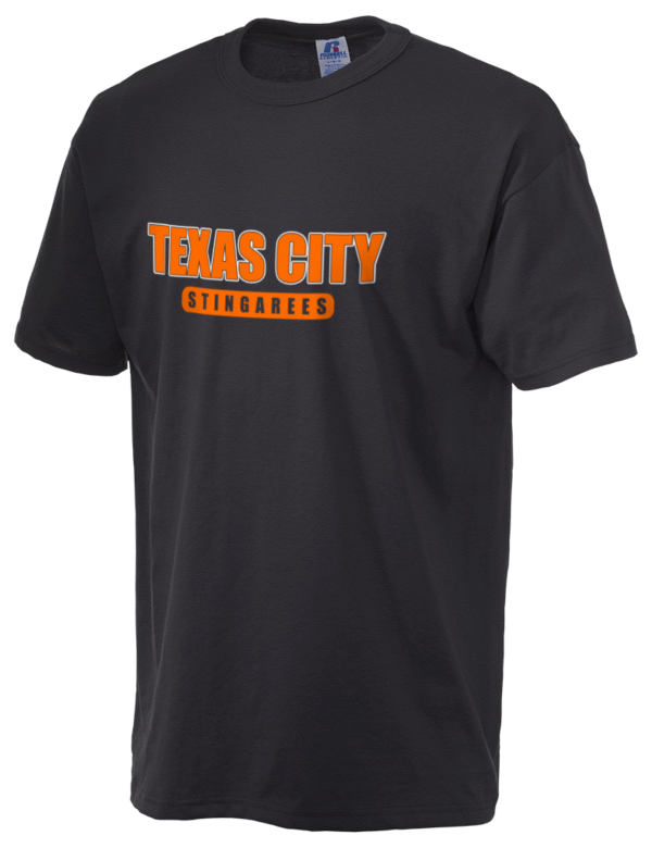 Texas city high school stingarees russell athletic men 39 s 5 for Texas a m golf shirt