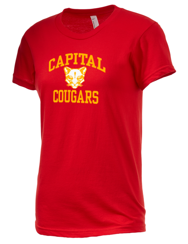 Capital high school cougars american apparel junior 39 s fine for American apparel men s fine jersey short sleeve tall t shirt