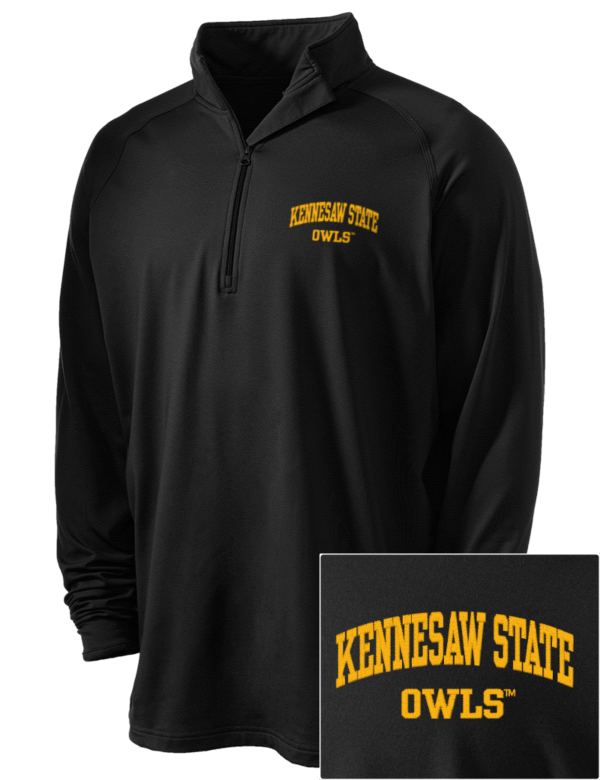 kennesaw state university owls embroidered men 39 s sport wick stretch 1 2 zip pullover. Black Bedroom Furniture Sets. Home Design Ideas