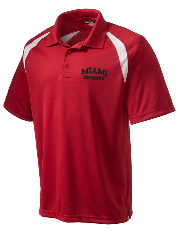 Miami university redhawks embroidered men 39 s dry zone for Embroidered polo shirts miami