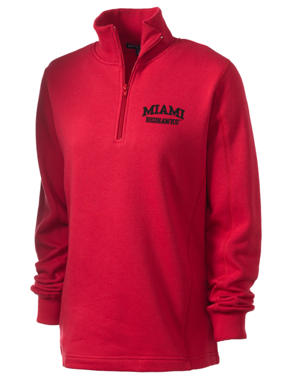 Miami university redhawks embroidered women 39 s 1 4 zip for Embroidered polo shirts miami