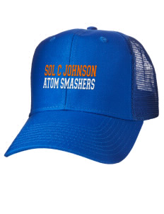 loadanim Sol C Johnson High School Atom Smashers Embroidered Cotton Twill Trucker-Style Mesh Back Cap
