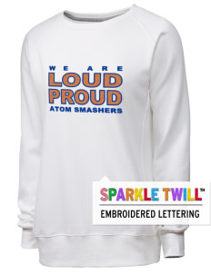 loadanim Sol C Johnson High School Atom Smashers Russell Athletic Women's Crewneck Sweatshirt with Sparkle Twill™