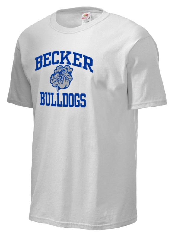 becker high school bulldogs fruit of the loom men 39 s 5oz cotton t shirt prep sportswear. Black Bedroom Furniture Sets. Home Design Ideas