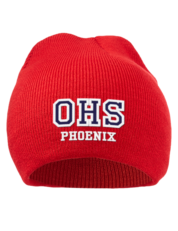 Oberlin high school phoenix embroidered acrylic beanie