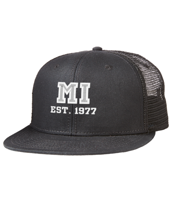 musicians institute est 1977 embroidered cotton twill flat bill trucker style snapback cap. Black Bedroom Furniture Sets. Home Design Ideas