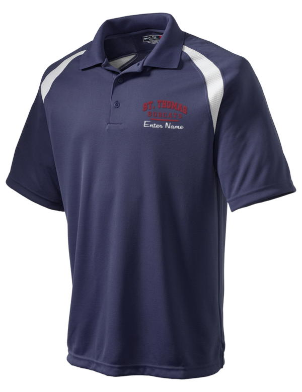 St thomas university bobcats embroidered men 39 s dry zone for Embroidered polo shirts miami