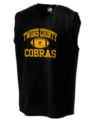 The perfect in-between custom Twiggs County High School Cobras sleeveless crewneck T-Shirt.  The Twiggs County High School Cobras sleeveless tee is preshrunk with double-needle stitching on neck, and hemmed armholes.  Ash color is 99% cotton, 1% polyester.  Sport Grey is 90% cotton, 10% polyester.