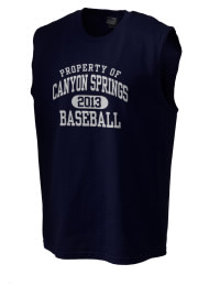 The perfect in-between custom Canyon Springs High School Pioneers sleeveless crewneck T-Shirt.  The Canyon Springs High School Pioneers sleeveless tee is preshrunk with double-needle stitching on neck, and hemmed armholes.  Ash color is 99% cotton, 1% polyester.  Sport Grey is 90% cotton, 10% polyester.