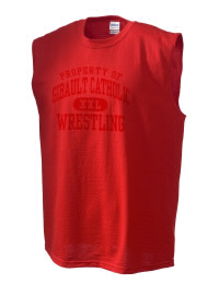 The perfect in-between custom Gibault Catholic High School Hawks sleeveless crewneck T-Shirt.  The Gibault Catholic High School Hawks sleeveless tee is preshrunk with double-needle stitching on neck, and hemmed armholes.  Ash color is 99% cotton, 1% polyester.  Sport Grey is 90% cotton, 10% polyester.