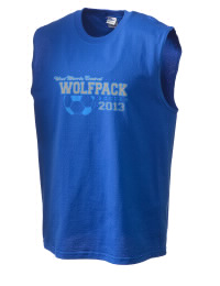 The perfect in-between custom West Morris Central High School Wolfpack sleeveless crewneck T-Shirt.  The West Morris Central High School Wolfpack sleeveless tee is preshrunk with double-needle stitching on neck, and hemmed armholes.  Ash color is 99% cotton, 1% polyester.  Sport Grey is 90% cotton, 10% polyester.