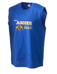 The perfect in-between custom Velva School Aggies sleeveless crewneck T-Shirt.  The Velva School Aggies sleeveless tee is preshrunk with double-needle stitching on neck, and hemmed armholes.  Ash color is 99% cotton, 1% polyester.  Sport Grey is 90% cotton, 10% polyester.