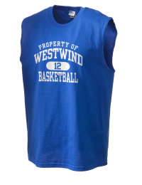 The perfect in-between custom Westwind Academy Warriors sleeveless crewneck T-Shirt.  The Westwind Academy Warriors sleeveless tee is preshrunk with double-needle stitching on neck, and hemmed armholes.  Ash color is 99% cotton, 1% polyester.  Sport Grey is 90% cotton, 10% polyester.