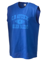 The perfect in-between custom Aycock High School Golden Falcons sleeveless crewneck T-Shirt.  The Aycock High School Golden Falcons sleeveless tee is preshrunk with double-needle stitching on neck, and hemmed armholes.  Ash color is 99% cotton, 1% polyester.  Sport Grey is 90% cotton, 10% polyester.