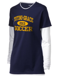 No extra layers needed. This double layered Totino-Grace High School Eagles tee shirt gives you twice the amount of style and comfort. The custom Totino-Grace High School Eagles T-Shirt features white long sleeves and peek-a-boo white neck and hem for a sporty look.