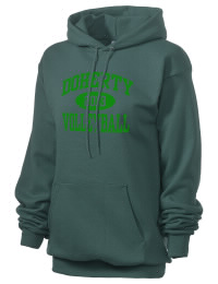 Crafted for comfort, this lighter weight Doherty High School Spartans hooded sweatshirt is perfect for relaxing and it's a real value for a sportswear hoody. A must have for the serious Doherty High School Spartans apparel and merchandise collection. 50/50 cotton/poly fleece hoodie with two-ply hood, dyed-to-match drawcord, set-in sleeves, and front pouch pocket round out the features of a Spartans hooded sweatshirt.