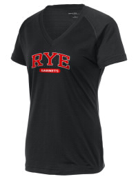 The Ladies Ultimate Performance V-Neck Rye High School Garnets tee is perfect for your active lifestyle.  The V-neck performance t-shirt is made with moisture wicking fabric and has a soft, cotton-like feel. This layerable Rye High School Garnets V-neck tee is sure to become a favorite on and off the court.