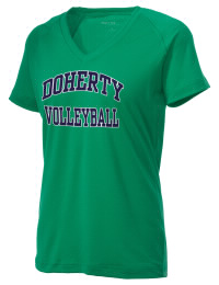 The Ladies Ultimate Performance V-Neck Doherty High School Spartans tee is perfect for your active lifestyle.  The V-neck performance t-shirt is made with moisture wicking fabric and has a soft, cotton-like feel. This layerable Doherty High School Spartans V-neck tee is sure to become a favorite on and off the court.