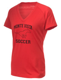 The Ladies Ultimate Performance V-Neck Monte Vista High School Mustangs tee is perfect for your active lifestyle.  The V-neck performance t-shirt is made with moisture wicking fabric and has a soft, cotton-like feel. This layerable Monte Vista High School Mustangs V-neck tee is sure to become a favorite on and off the court.