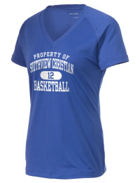 The Ladies Ultimate Performance V-Neck Southview Christian School Conquerors tee is perfect for your active lifestyle.  The V-neck performance t-shirt is made with moisture wicking fabric and has a soft, cotton-like feel. This layerable Southview Christian School Conquerors V-neck tee is sure to become a favorite on and off the court.