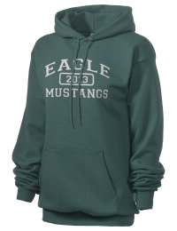 Crafted for comfort, this lighter weight embroidered Eagle High School Mustangs hooded sweatshirt is perfect for relaxing.  A must have hoody for the serious Eagle High School Mustangs apparel and merchandise collection. 50/50 cotton/poly fleece hoodie with two-ply hood, dyed-to-match drawcord, set-in sleeves, and front pouch pocket round out the features of a Mustangs hooded sweatshirt.