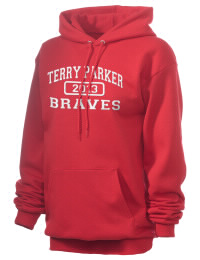 Crafted for comfort, this lighter weight embroidered Terry Parker High School Braves hooded sweatshirt is perfect for relaxing.  A must have hoody for the serious Terry Parker High School Braves apparel and merchandise collection. 50/50 cotton/poly fleece hoodie with two-ply hood, dyed-to-match drawcord, set-in sleeves, and front pouch pocket round out the features of a Braves hooded sweatshirt.