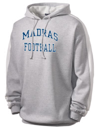 Get a little two-tone style with this custom tackle twill Madras High School White Buffaloes hoodie. It's colorfast so it will look sharp wash after wash, and it resists shrinking so it will keep its roomy fit. The sleeve stripe helps it stand apart from the rest of the hoodies in the crowd.