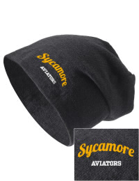 On the street or on the slopes, stay warm and look cool in this Sycamore High School Aviators knit hat. An acyrlic/polyester blend beanie with a snug yet slouchy fit. Embroidery will not be on center front, but off centered to the left.