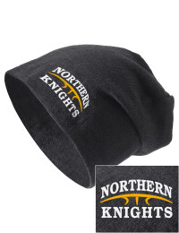On the street or on the slopes, stay warm and look cool in this Northern High School Knights knit hat. An acyrlic/polyester blend beanie with a snug yet slouchy fit. Embroidery will not be on center front, but off centered to the left.