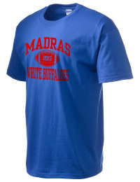 This custom Madras High School White Buffaloes crewneck t-shirt with a seamless collar turns a classic into an ultra comfortable apparel choice. Customize this t-shirt with your favorite White Buffaloes design and personalize with your Madras High School White Buffaloes year. Choose your custom design for your tee and wear this customized t-shirt proudly.